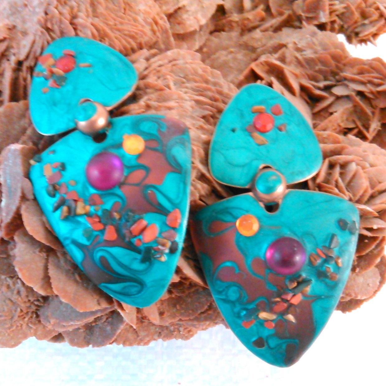 Vintage Handmade Copper Tone Enamel Look Stud Earrings