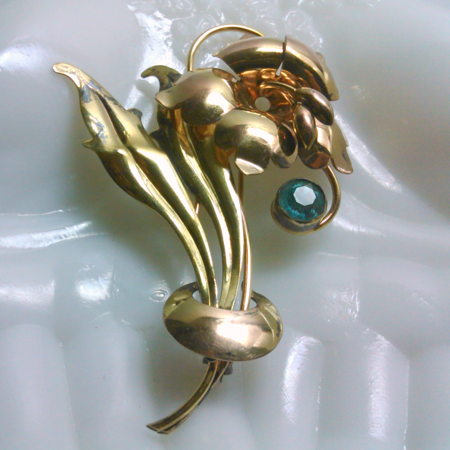 Art Nouveau Style 1/20 12 K Gold Plated on Silver Floral Brooch Blue Rhinestone