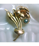 Art Nouveau Style 1/20 12 K Gold Plated on Silver Floral Brooch Blue Rhi... - $17.00