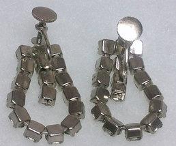 Vintage Clear Rhinestone Screw-back Loop Earrings image 2