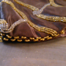 Vintage 1960's Walborg Beaded Purse Dark Brown Satin with Gold & Silver Seed Bea image 5
