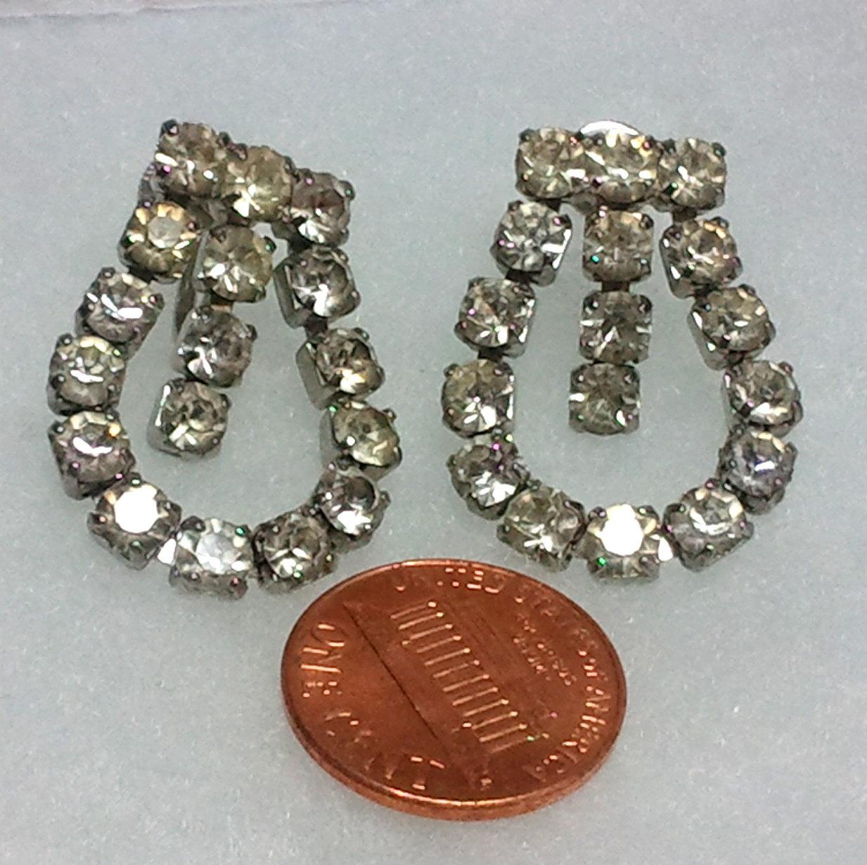 Vintage Clear Rhinestone Screw-back Loop Earrings