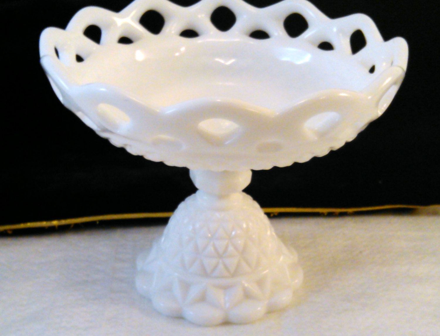 Imperial Milk Glass Pedestal Compote with Open Lace Edge