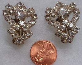 Vintage Clear Rhinestone Clip On  Earrings image 2