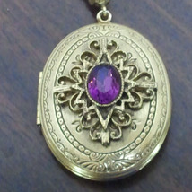 Whiting Davis Gold tone Faux Amethyst Locket - $59.99