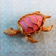 Pink Turtle Pin/brooch w/pink rhinestone eyes - $8.00