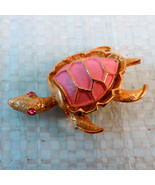 Pink Turtle Pin/brooch w/pink rhinestone eyes - $8.00