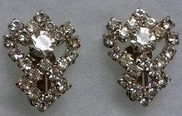 Vintage Clear Rhinestone Clip On  Earrings image 3