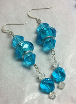 Blue Crystal and Glass Strung Necklace set w/ Wire Wrapped Acrylic Center image 2