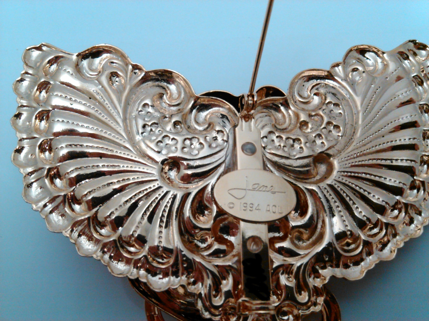 Art Nouveau Look Angel Brooch/Pin Hand Signed by Jane