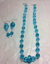 Blue Crystal and Glass Strung Necklace set w/ Wire Wrapped Acrylic Center image 3