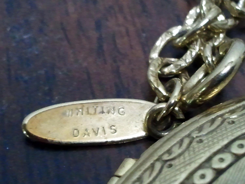 Whiting Davis Gold tone Faux Amethyst Locket