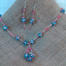 Argentium Sterling Wire Wrapped Floral Blue and Pink Beads w/ Pink Crystals  image 2
