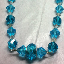 Blue Crystal and Glass Strung Necklace set w/ Wire Wrapped Acrylic Center image 4