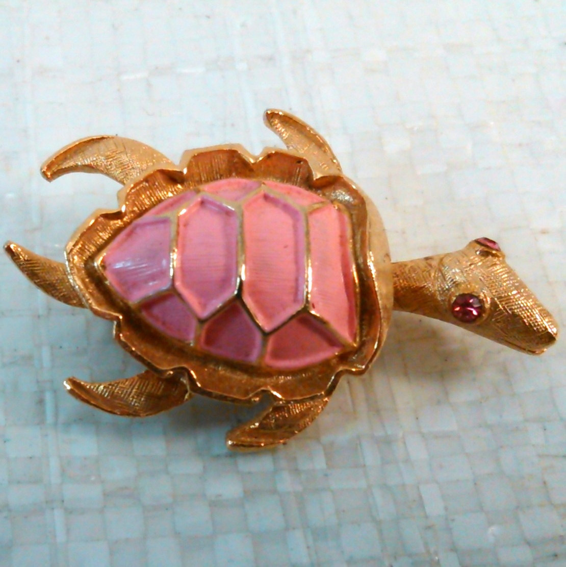 Pink Turtle Pin/brooch w/pink rhinestone eyes