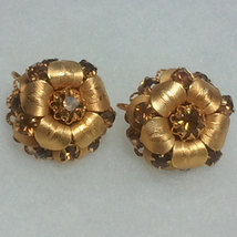 Vintage Gold Toned Clip on Leaf Themed Earrings with Topaz Colored Rhine... - $12.99