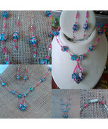 Argentium Sterling Wire Wrapped Floral Blue and Pink Beads w/ Pink Cryst... - $29.99