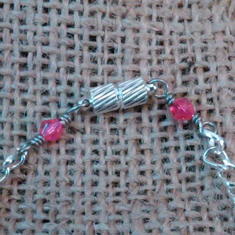 Argentium Sterling Wire Wrapped Floral Blue and Pink Beads w/ Pink Crystals Magn