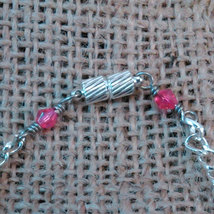 Argentium Sterling Wire Wrapped Floral Blue and Pink Beads w/ Pink Crystals  image 3
