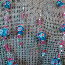Argentium Sterling Wire Wrapped Floral Blue and Pink Beads w/ Pink Crystals  image 4