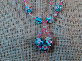 Argentium Sterling Wire Wrapped Floral Blue and Pink Beads w/ Pink Crystals  image 5