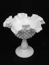 """Vintage Fenton Milk Glass Hobnail Double Crimped Ruffled Edge 6"""" Footed ... - $10.99"""