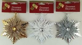Christmas Ornaments Metal Gloss Snowflakes w Jewel & Loops 1 Ct/Pk SELECT: Color - $2.99