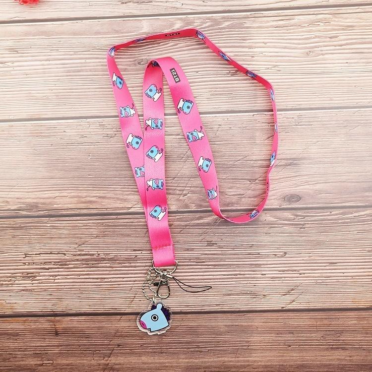 BTS BT21 Bangtan Boys Lanyard Strap Keychain Keyring ID Holder Kpop Accessories
