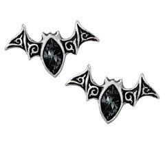Viennese Nights Dark Crystal Bat Surg Steel Studs Earrings Alchemy Gothi... - $22.95