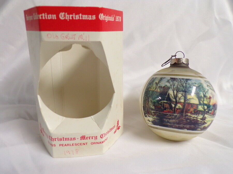 Primary image for ORIGINAL 1978 Currier & Ives Old Grist Mill Christmas Ornament NEW