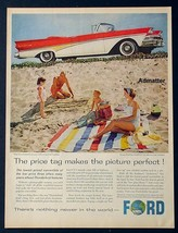 1958 Ford Thunderbird Sunliner Convertible Car Ad T-BIRD Automobile Art Nice Ex - $7.84
