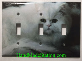 Persian Cat Toggle Rocker Switch Power Outlet Duplex Cover Plate Home decor image 3