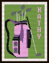 Golf Bag Custom Afghan C2C Crochet Graph Pattern Personalized Gift For Her - $9.50