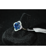 Solid .925 Sterling Silver (stamped) 2.30ctw Blue & White Sapphire Ring ... - $15.98