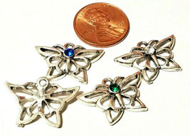 DAINTY Butterfly With Colored Crystal Fine Pewter Pendant Charm 23x16x3mm image 3