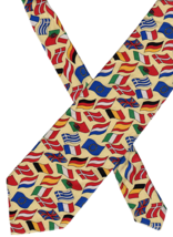 """Beaufort Tie Rack Necktie National Flags Made in Italy Silk 59""""x4"""" colorful - $14.84"""