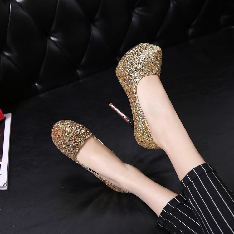Primary image for pp349 Elegant sequined bridal pumps, Extra size, US Size 2-10.5, gold