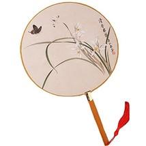 2PCS Cotton Fabric Fan Print Decor Bamboo Handle Round Hand Fan, Flower - $20.06