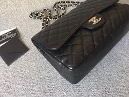 AUTHENTIC CHANEL BLACK CAVIAR QUILTED JUMBO SINGLE FLAP BAG SILVER HARDWARE image 5