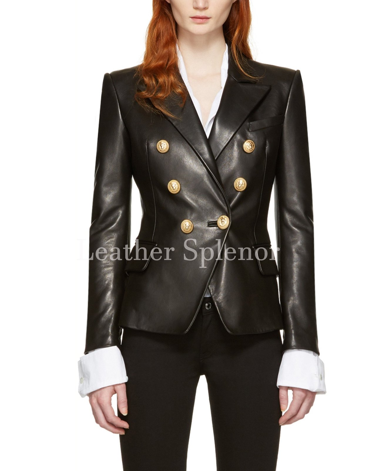 Double Breasted Women Leather Blazer