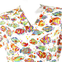 Los Angeles Rose Large Psychedelic Tropical Fish Scrub Top - $14.84