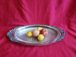 vintage Gorham silverplate ornate handle oval serving platter with glass insert - $67.32