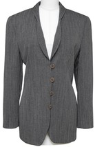 GIORGIO ARMANI Blazer Jacket Pinstripe Grey Off White Shawl Lapel Sz 40 - $339.63