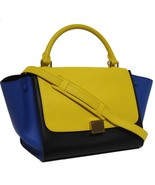 New Celine Runway Sunflower Tricolor Small Trapeze Luggage Leather Bag - $1,958.04