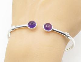 925 Sterling Silver - Amethyst Gemstone Cuff Bracelet - B1441 - $60.73