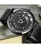 Mens Watches Luxury Hollow Golden Silver Steel Retro Quartz Casual Wrist... - $10.12+