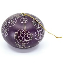Handcrafted Carved Gourd Art Purple Primose Flower Floral Ornament Made in Peru image 2