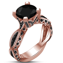 Solid 925 Sterling Silver 14k Rose Gold Plated Diamond Engagement Women'... - $76.99
