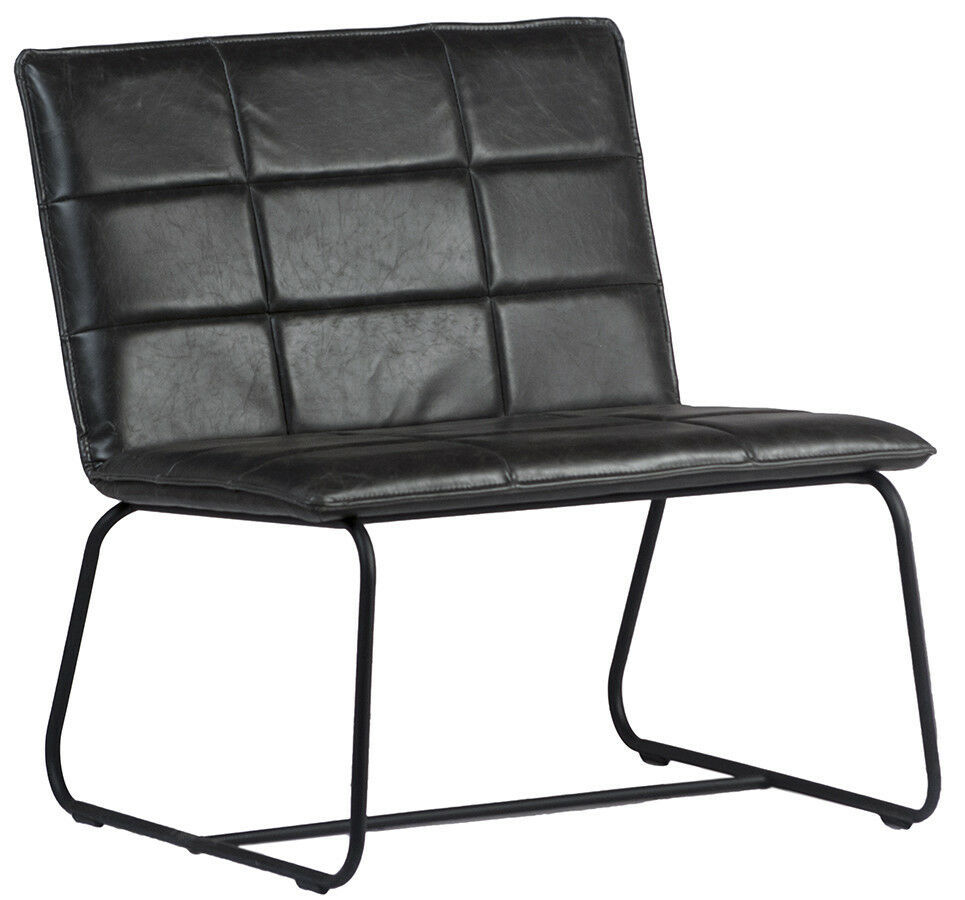 "28"" W Modern  Occasional Chair Metal Frame  Black Leather"