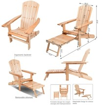 Adirondack Chair Patio Chairs Wood Outdoor Foldable Garden Wooden Lounge... - $84.11